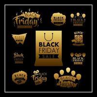 zwarte vrijdag verkoop label set vector
