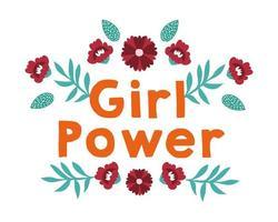 girl power belettering poster met bloemen en bladeren vector