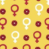 girl power poster met vrouwelijke symbolen en bloemen vector