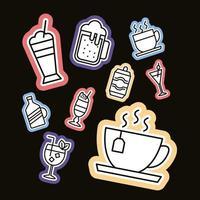 bundel van negen pictogrammen van drankenstickers vector