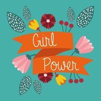 girl power poster met letters in lint en bloemen vector