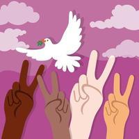 internationale dag van vrede belettering met duif en interraciale handen
