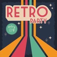 retro-stijl feestposter met stempel van de toegangsprijs vector