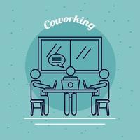 drie werknemers met laptops en tekstballon, lijnstijl coworking