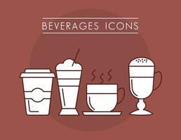 set van koffie dranken iconen