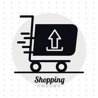 winkelwagentje trolley met pijl omhoog lijn stijlicoon en belettering vector