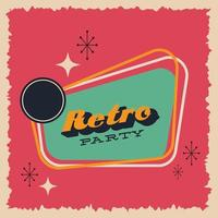 retro-stijl partij poster met belettering vector