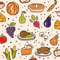bundel van thanksgiving daypatroon met leuke pictogrammen vector
