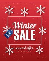 grote winter verkoop poster met blauwe tag opknoping en sneeuwvlokken vector