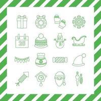 bundel van zestien kerst lijn stijliconen vector