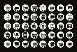 bundel van veertig winkelwagentjes lijn stijl iconen vector