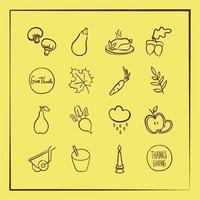 bundel van zestien thanksgiving pictogrammen op gele achtergrond vector