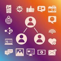 bundel van sociale media blokstijlpictogrammen op paarse achtergrond vector