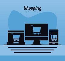 winkelwagentjes trolley in elektronische apparaten lijn stijlicoon vector