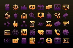 bundel van veertig social media blokstijlpictogrammen vector