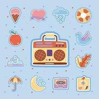 retro radio met set stickers vlakke stijl iconen vector