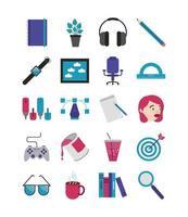 ontwerper platte pictogramserie vector