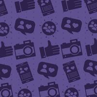 patroon van sociale media blokstijlpictogrammen vector