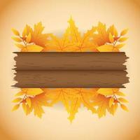 herfst banner met loof en houten label