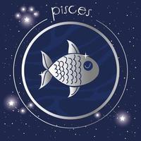 Vissen sterrenbeeld zilver ontwerp vector