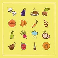 bundel van zestien thanksgiving day iconen vector