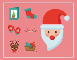 kerst kerstman en pictogrammen vlakke stijl vector