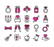 Valentijnsdag lijn en vulling pictogramserie vector