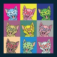 Andy Warhol geïnspireerd kattenframe vector