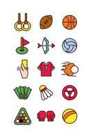 sport lijn en vulling pictogramserie
