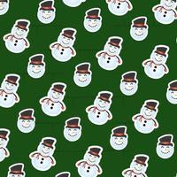 vrolijke kerstkaart met sneeuwpop patroon vector