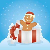 vrolijke kerstkaart met gemberkoekje vector