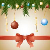 vrolijke kerstkaart met ornamenten vector