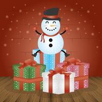 vrolijke kerstkaart met geschenken en sneeuwpop vector