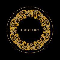 luxe ornament cirkel gouden embleem vector