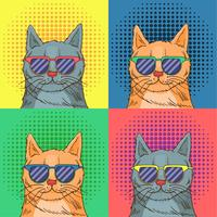 Glazen Cat Pop Art vector