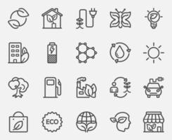 ecologie terug lijn iconen set vector