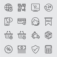 e-commerce lijn iconen set