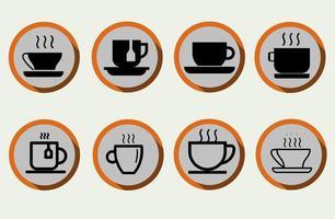 set van koffiekopje, theekopje, waterkopje in vlakke stijl