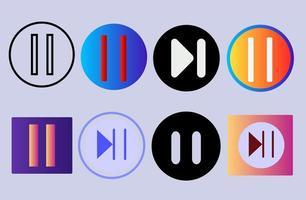 set pauze media player knoppen in kleurrijke vlakke stijl