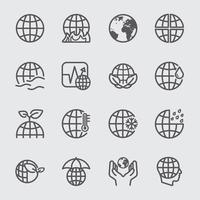 aarde concept lijn pictogrammen instellen vector