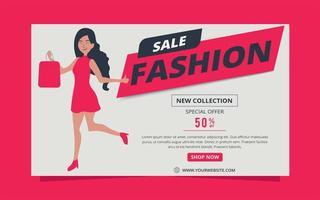 promotiebanner voor mode-verkoop met boodschappentas