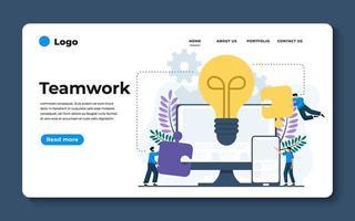 moderne platte ontwerp illustratie van teamwerk. kan worden gebruikt voor website en mobiele website of landingspagina. vector illustratie