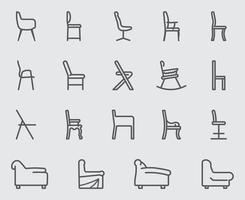 stoel en bank lijn iconen set vector
