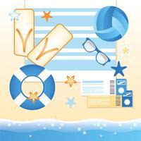 Vector zomer strand elementen en pictogrammen