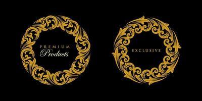 ornament ronde gouden embleem set vector