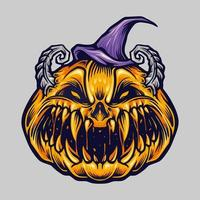 griezelige griezelige halloween-pompoen met hoedillustratie