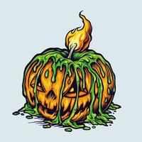 griezelige enge halloween-pompoen met illustratie van het kaarslicht vector