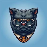 grijze kat meneer met bril vector