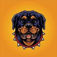 rottweiler hond esport mascotte vector