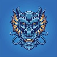 blauwe boze drakenkop mascotte vector